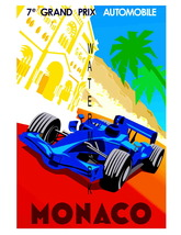 Monaco Vintage 7e Grand Prix Auto Racing 13 x 10 in Advert Giclee CANVAS... - $19.95