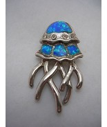 JELLYFISH PENDANT CHARM WITH OPALS AND CUBIC ZIRCONIA SET IN STERLING SI... - $37.36