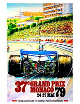 Monaco Vintage (1979) Grand Prix Auto Racing 13 x 10 in Giclee CANVAS Ad... - $19.95