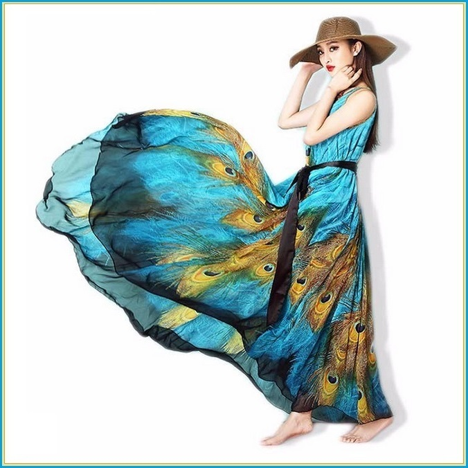 Bohemian Blue Peacock Print Chiffon Sleeveless Long Flare Summer Beach Dress