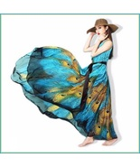 Bohemian Blue Peacock Print Chiffon Sleeveless Long Flare Summer Beach D... - $93.95