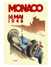 Monaco Vintage (1948) 13 x 10 in Grand Prix Auto Racing Adv Giclee CANVA... - $19.95