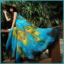 Bohemian Blue Peacock Print Chiffon Sleeveless Long Flare Summer Beach Dress image 2