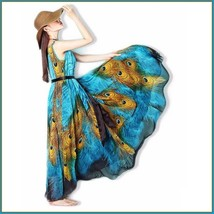 Bohemian Blue Peacock Print Chiffon Sleeveless Long Flare Summer Beach Dress image 3