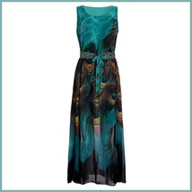 Bohemian Blue Peacock Print Chiffon Sleeveless Long Flare Summer Beach Dress image 4