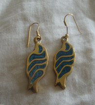 Vintage Retro 80's Brass w Blue enamel  Greek Pierced Dangle  Earrings - $9.95