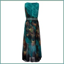 Bohemian Blue Peacock Print Chiffon Sleeveless Long Flare Summer Beach Dress image 5