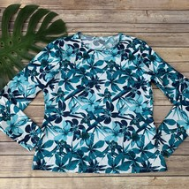 Lands End Womens Rash Guard Cover Up Top Size M Blue Floral Long Sleeve ... - $24.74
