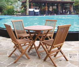 Teak Tiki 5 pc Patio Deck Folding Teak Bistro Chat Set   - $549.00