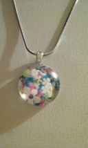 Handmade Flower Design Round Glass Pendant On Silver Chain Necklace 6 - $6.99