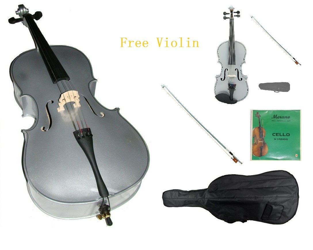 1/4 Silver Cello,Silver Bow,Bag,String+1/4 Silver Violin Set,Save for 2 Students - $150.00