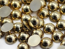 11mm Round Acrylic Gold Cabochons High Quality Pro Grade - 80 Pieces - $5.19