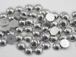 7mm Round Acrylic Silver Cabochons High Quality Pro Grade - 120 Pieces - $4.43
