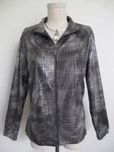Chico's Traveler Knit Metallic Silver Croc Print Jacket Zip Cardigan 1 S... - $12.19