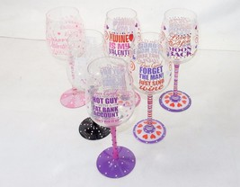 Novelty Wine Glass ~ Cute Love Quotes Hand Painted On Glass w/Rhinestones - $9.95