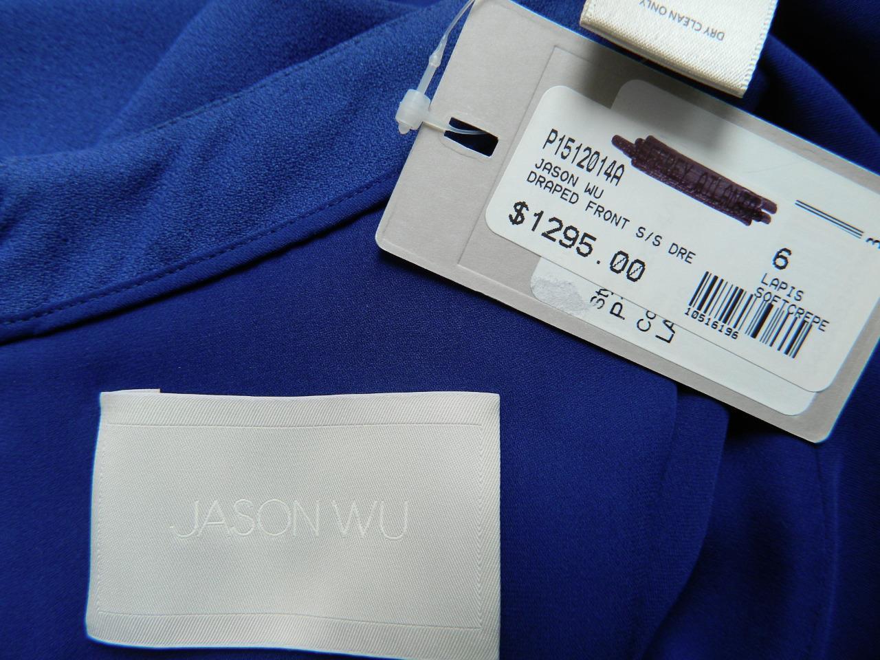 Jason Wu Dress Draped Front Flounce Lapis Blue Crepe Short Sleeve NWT $1295 6