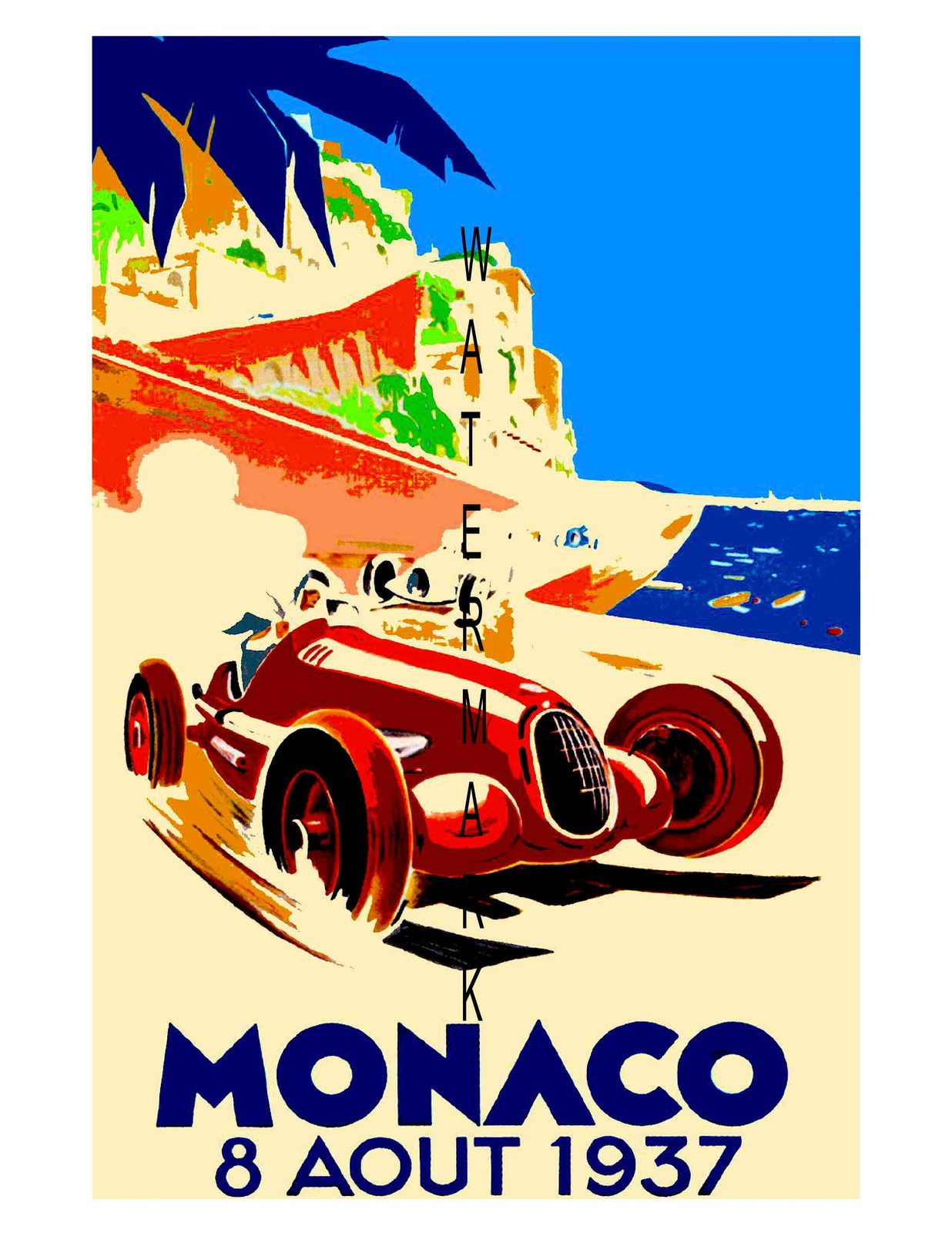 Monaco Vintage (1937) Grand Prix Auto Racing 13 x 10 in Adv. Giclee CANVAS Print