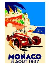 Monaco Vintage (1937) Grand Prix Auto Racing 13 x 10 in Adv. Giclee CANV... - $19.95