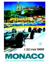 Monaco Vintage (1966a) Grand Prix Auto Racing 13 x 10 in Adv Giclee CANV... - $19.95