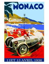 Monaco Vintage (1936a) Grand Prix Auto Racing 13 x 10 in Adv Giclee CANV... - $19.95