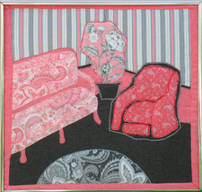 Pink Parlor: Quilted Art Wall Hanging - $350.00