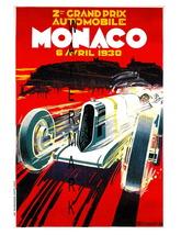 Monaco Vintage (1930a) Grand Prix Auto Racing 13 x 10 in Adv Giclee CANV... - $19.95