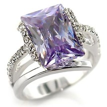 Silver Tone Light Amethyst CZ Solitaire With Pave CZ Sides Fashion Ring - SIZE 5 - $19.49