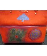 Tangerine Orange Kate Spade Handpainted Designs Grove Court Leather Tote Bag - $209.00