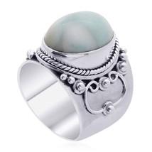 Artisan Oval Shaped Aqua Blue Larimar 10.69ctw 925 Sterling Silver Ring ... - $48.99