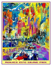 Monaco Art Deco (1970) Grand Prix Auto Racing 13 x 10 inch Giclee CANVAS... - $19.95