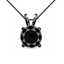 4CT Women's Unique Black Diamond 4 Prong 14K BG Solitaire Necklace Box C... - $318.66+