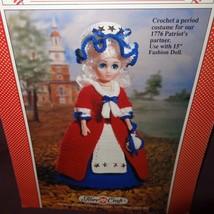 """Betsy Ross Doll Dress Crochet Pattern 15"""" Fibre Craft 1989 FCM202 Heritage - $9.99"""