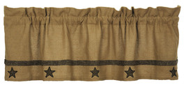 "Olivia's Heartland country primitive Tan BURLAP STAR VALANCE curtain 16"" x 60"" - $32.95"
