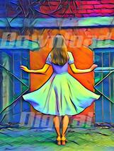 Digital download  girl Cinderella debutante dress Wallpaper Painting Wat... - $5.00