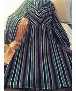 Classic Eileen Navy Blue Multi Striped Long Sleeve Midi Dress - XS - S - $30.00