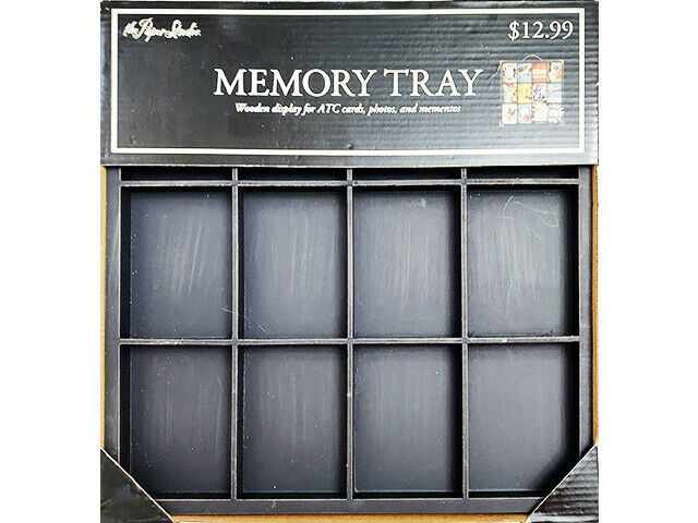 The Paper Studio Wooden Memory Tray, Black, Perfect for ATC Cards & Mixed Media