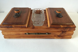 Wooden Cedar Lined Large Jewelry Box Knob glass lid HAND MADE - €51,49 EUR