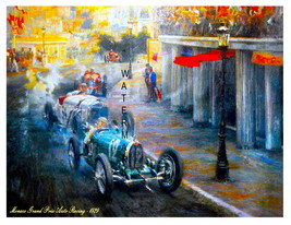 Monaco Grand Prix Old Auto Racing 1929 Painting 13 x 10 inch Giclee CANV... - $19.95