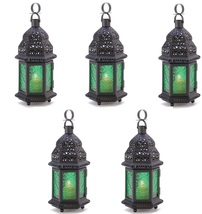 5 Moroccan Lanterns Green Glass - $40.00