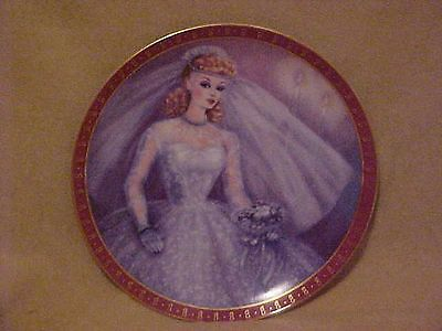 Vintage 1959 Barbie Ponytail Portrait Plate Danbury Mint Bride Porcelain
