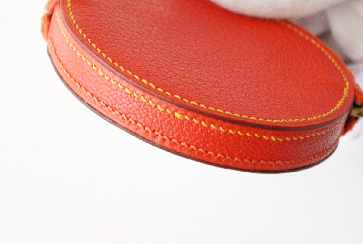Hermes Coin Purse Wallet Orange slice Rare Authentic