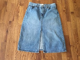 Vtg Gap Womens Blue Medium-Wash Denim Jean A-Line Hippie Skirt with Slit  Sz 6 - $29.44