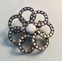 Vintage White Stone Gold Tone Inlay Stones Circle Spiral Brooch J3554 - $12.34