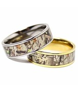 TITANIUM His & Hers REAL OAK Camo Wedding Rings Camouflage Gear Durable Hunters - $35.99
