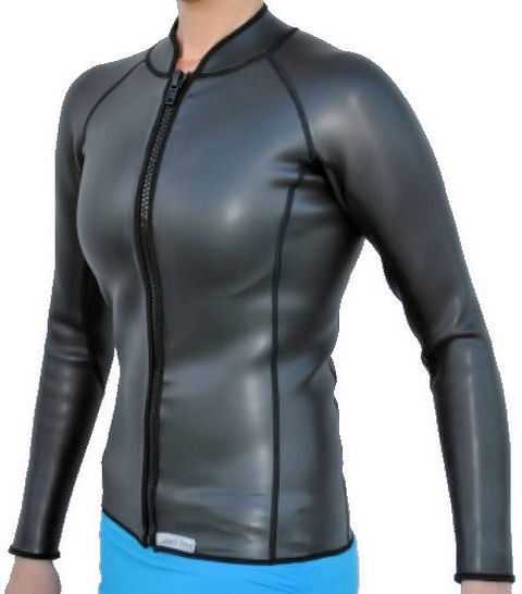 Womens 2mm smooth skin wetsuit jacket long sleeve full zipper front