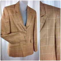 TALBOTS Windowpane Wool Silk Blend Blazer Jacket Womens Size 4  Lightweight - $24.95