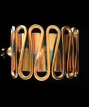 Wide Renoir Cuff bracelet Wave design with relief artisan Copper womens ... - $155.00