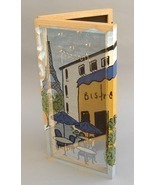 Bistro Jewelry Cabinet Hand Painted Earring Necklace Holder Organizer Handmade - £84.88 GBP