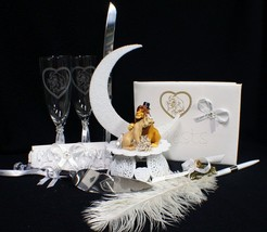 Lion King DISNEY Wedding Cake Topper LOT Glasses Server Guest Book Garter Pen - $177.11