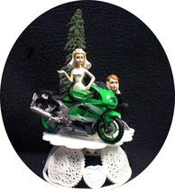 Wedding Cake Topper w/ Kawasaki Green Ninja Crotch Rocket Motorcycle Bike racing - $59.20